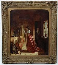 Charles Lees (1800-1880) RSA Scottish, Oil on canvas, Noble lady reading le