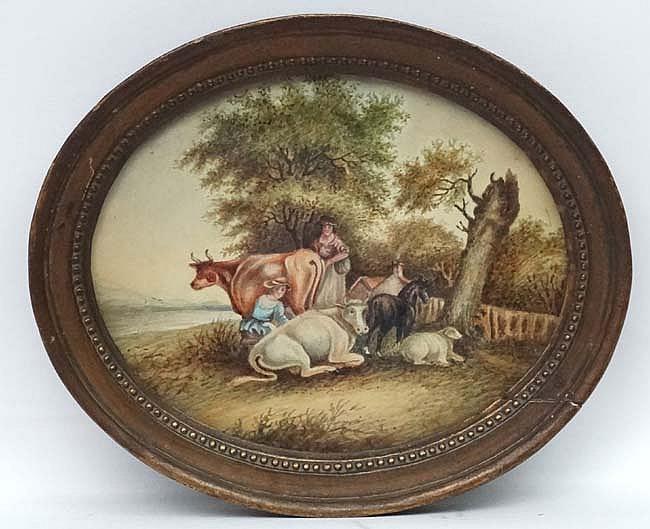 XVIII English School, Watercolour and Gum Arabic, an oval, Milk maids , cow