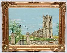 H F Webber XX, Oil on board, ' Colerne Church ' 1987 , St John the Baptist