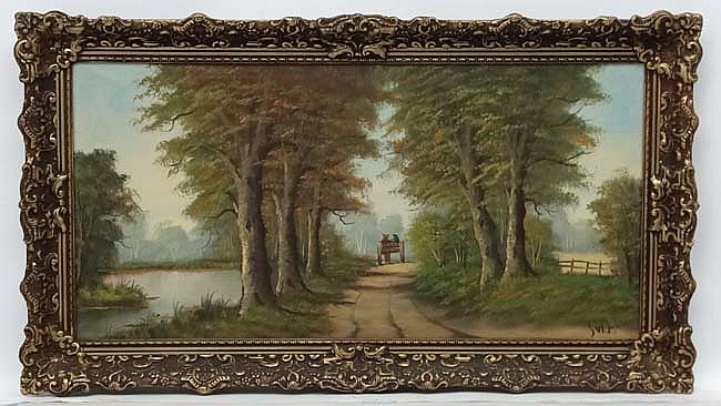 S von Dyk XX, Oil on canvas, Horse and cart on a river track, Signed lower
