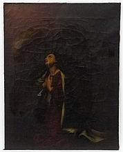 XVIII - XIX Continental School, Oil on canvas,  Annunciation , a lady kneel