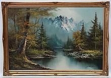 Johnstone  XX, Oil on board, River landscape, Signed.  24 x 36''