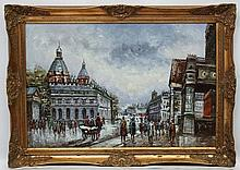 N Spence XX French School, Oil on canvas, French street scene, Signed lower