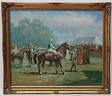 Maskey after Munnings XX, Oil on board, The point-to-point meetings, Signed