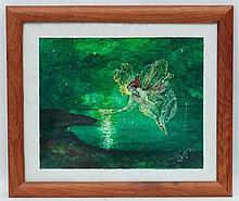 Monogrammed MS After John Atkinson Grimshaw, Oil on panel, ' Spirit of the