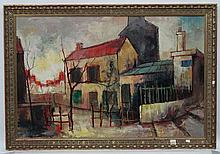 Indistinctly Signed German Expressionist School, Oil on canvas, View of a H
