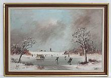 Digby Page (1945), Oil o canvas, 'Dutch Winter Landscape 1978 ', Signed low