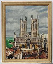 T Gate '70', Oil on artist's Board, Lincoln Cathedral, Signed and  dated lo