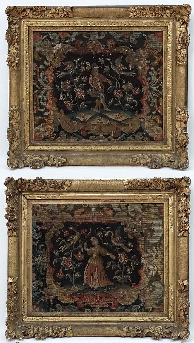 17 th / 18 thC Tapestries, A pair, Male and female figures surrounded by fl