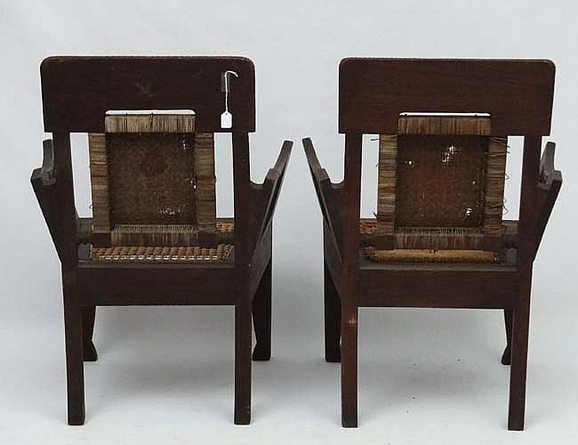 Colonial Chairs A Pair Of Colonial Caned Seated Tea