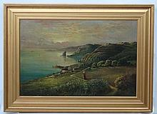 Late XIX Topographical and Historical School, Oil on canvas,  Hallsands , D