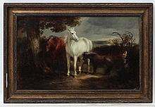 IWC XIX Equine School, Oil on board, A Chestnut and Grey pair of Horses  an