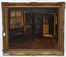 Early XX English School, Oil on canvas, Cottage interior, Monogramed ' SJL