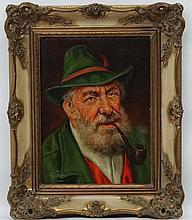 G Pat mid XX Italian School, Oil on canvas, North Italian gentleman smoking