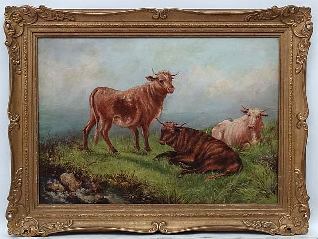 A S Kent XIX, Scottish School, Oil on canvas, Young Bulls beside a Burn, Si