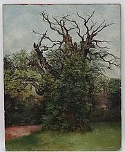 CC Warren 1889, Oil on canvas,  The old oak tree before an Elizabethan hous