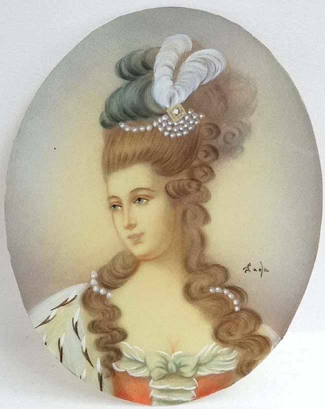 Jaola ? XX, Miniature : watercolour and gouache on ivorine oval, Portrait o