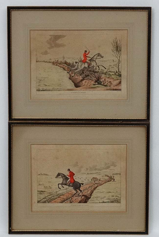 RF June 24 th 1811, Pair of hand coloured Hunting engravings, ' Going in an