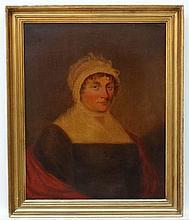 XIX English Portrait School, Oil on mahogany panel, fielded edges, Portrait