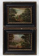 Late XVIII English School, Oil on copper, a pair, Small landscapes, One Ind