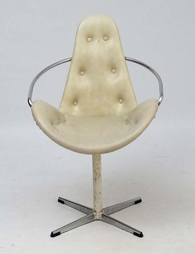 Vintage Retro : a mid century white liverey swivel chair with white faux le