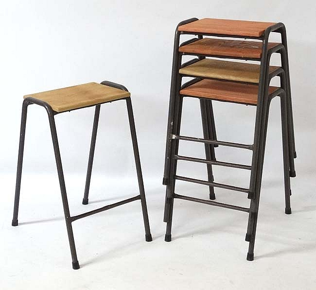 Vintage Industrial : A set of British elm topped science lab stools with pa