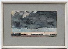 G Richard Mortimer c1965, Watercolour, ' Evening nr Colchester ', Inscribed