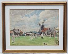 William Ongley Miller 1947, Watercolour and pencil, Cricket on the village