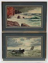 E R Schuvermann c.1900 Marine School, Watercolour and gouache , a pair, Wav