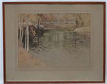 Indistinctly Signed c.1880, Watercolour  and pen ink, Wooded river scene,