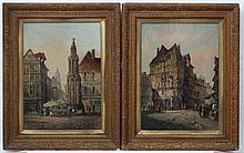 H.N Eugene 1892, Oil on canvas, a pair, French market square street scene