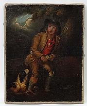 XVIII English School, Oil on canvas, The Poacher leaning on a fallen trunk