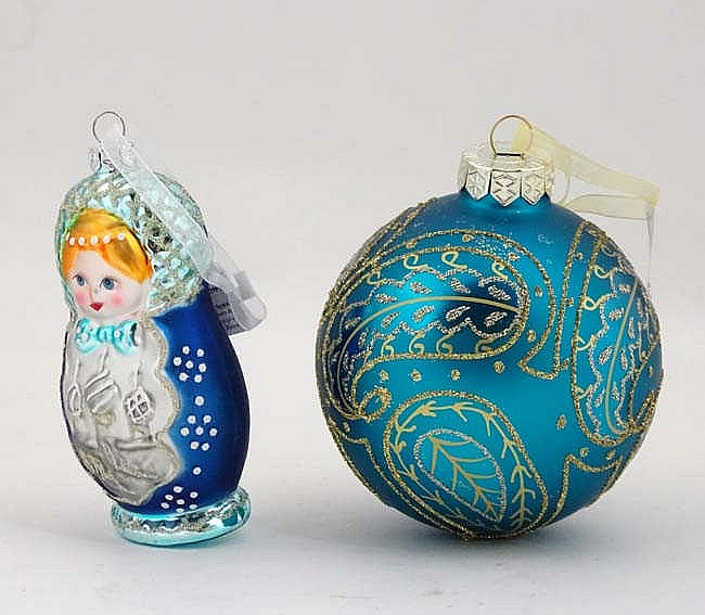 Christmas Decorations Two Blue Christmas Tree Baubles One