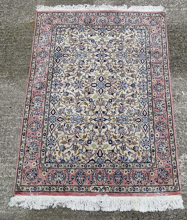 Carpet / Rug : A Signed Pakistan Made Deepish Pile (silk Lik