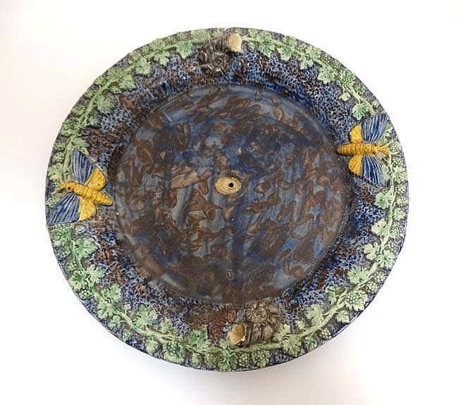 A 19thc Thomas Sargent Style Majolica Pallisy Plate Decorat