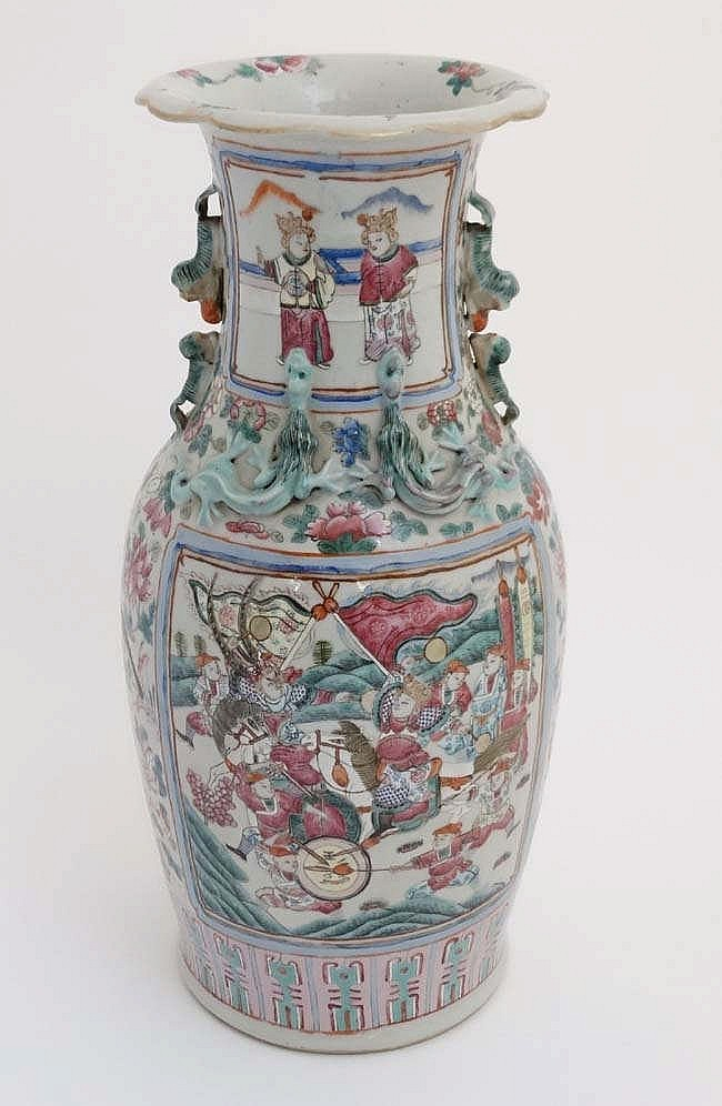 A Large Chinese Canton Famille Rose Vase Of Baluster Form H