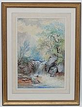 William Widgery (1822-1893), Watercolour and gouache, River waterfall and rapids, Signed and dated '1868' lower right. 19 3/8 x 13''