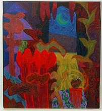 Rafiee Abdul  Ghani 1962 , Malaysian , Contemporary School, Mixed media 1992, ' Le Jardin Series III ', Labelled verso,  39 x 35''. Came from private collection in Kuala Lumper,