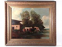 XIX German School Oil on canvas Cattle watering 22