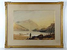 19thC School Watercolour Fisherman with dog