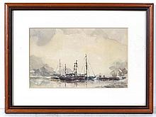 Indistinctly signed XX Watercolour Moored Scottish