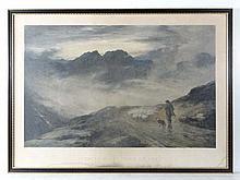 After J MacWhirter RA Lithograph 1895 ' Evening