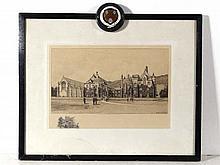 Edward J Burrow 1900 Etching 'Malvern College' (