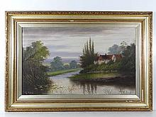 G. Cole (Early XX) Oil on canvas Cottages by a