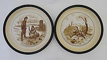 A pair of Old Bill WWI decorative plates by Bruce