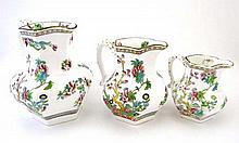 A 19thC set of 3 graduated octagonal shaped jugs