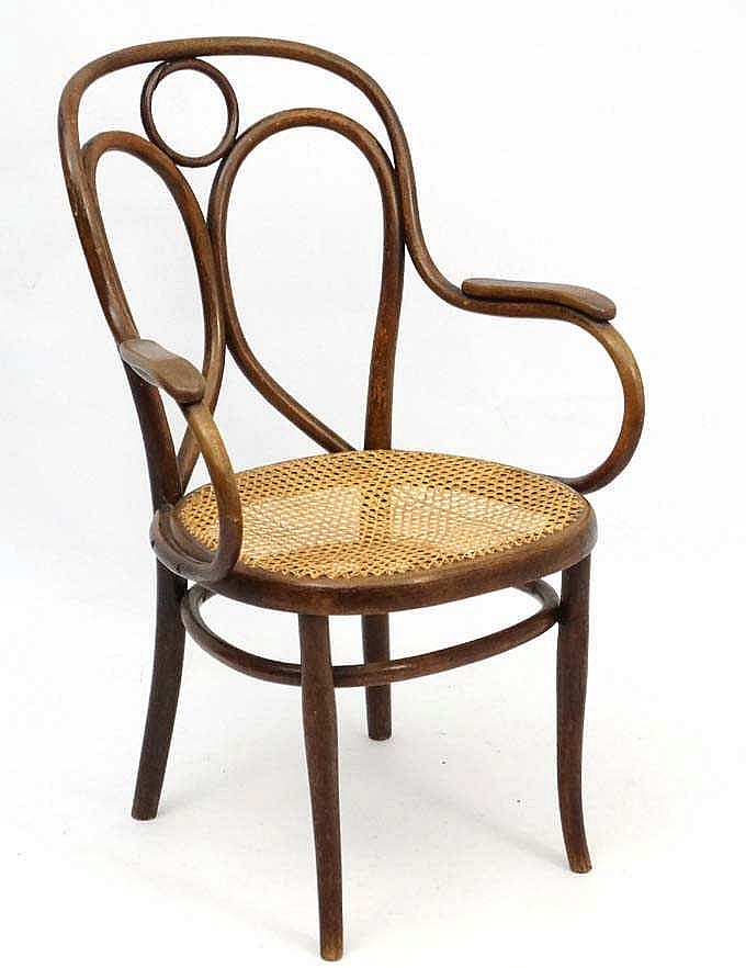 A thonet bentwood open armchair with caned seat and bears la for Asian furniture tottenham court road