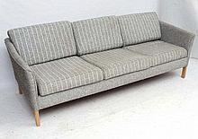 Vintage Retro :  A Danish 3 seat Sofa with stripped woollen upholstery and