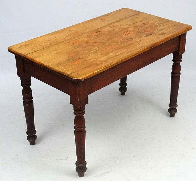 A c.1900 pine kitchen table with frieze drawer to one end 45 ...