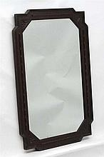 A c.1930 oak framed wall mirror with bevelled edge glass 36'' high x 24'' w